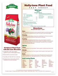 Product Fact Sheets for Espoma's Natural Organic Products